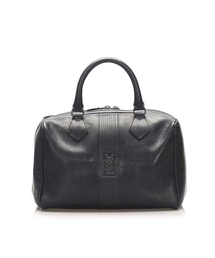 Image for Vintage YSL Leather Boston Bag Blue