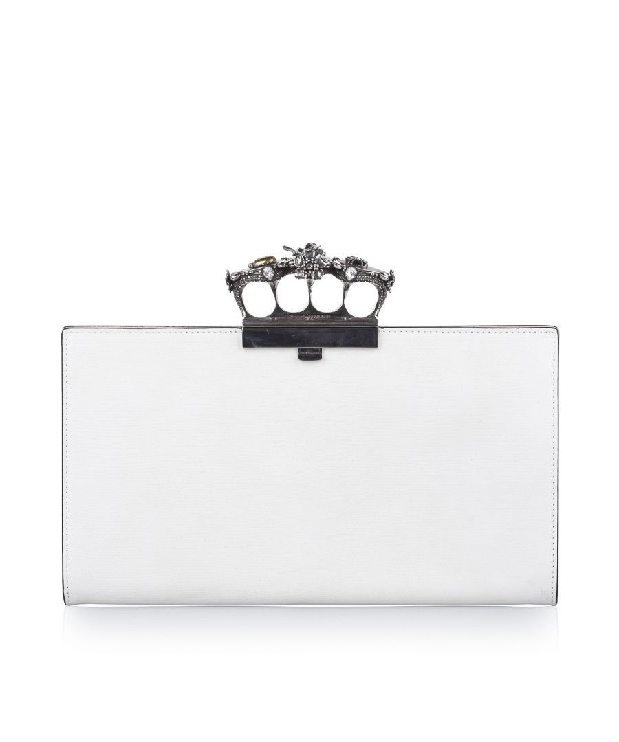 Image for Vintage Alexander McQueen Knuckle Leather Clutch Bag White
