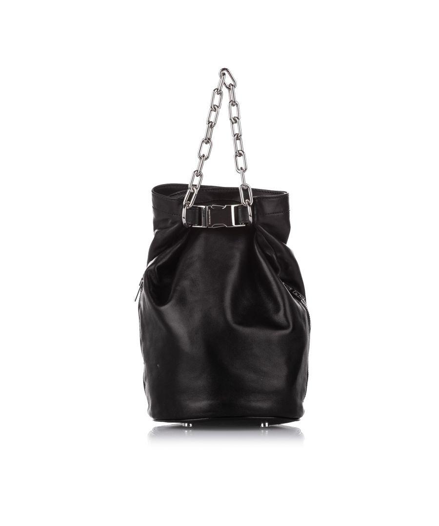 Image for Vintage Alexander Wang Attica Leather Bucket Bag Black