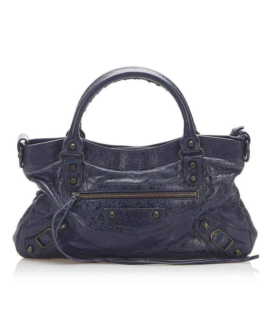 Image for Vintage Balenciaga Motocross Classic First Lambskin Leather Satchel Blue