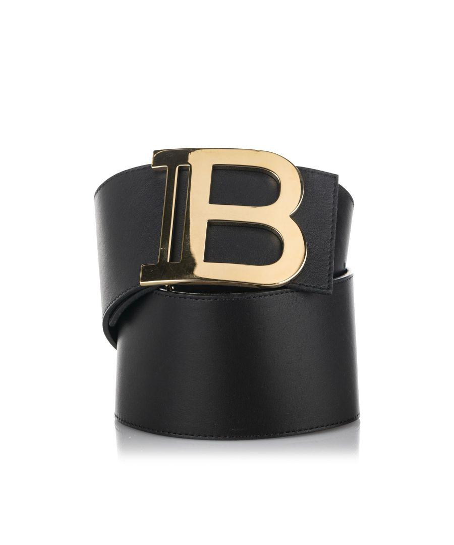Image for Vintage Balmain Monogram Buckle Leather Belt Black