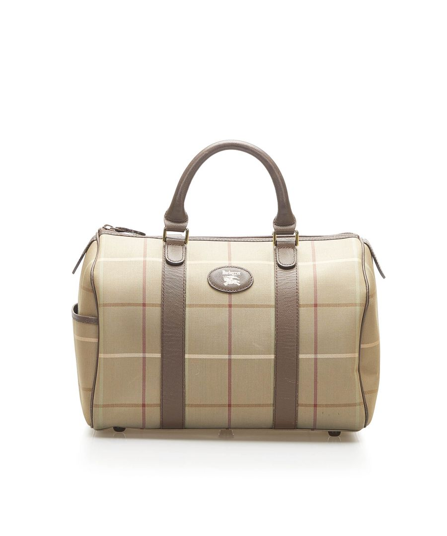 Image for Vintage Burberry Plaid Canvas Boston Bag Brown