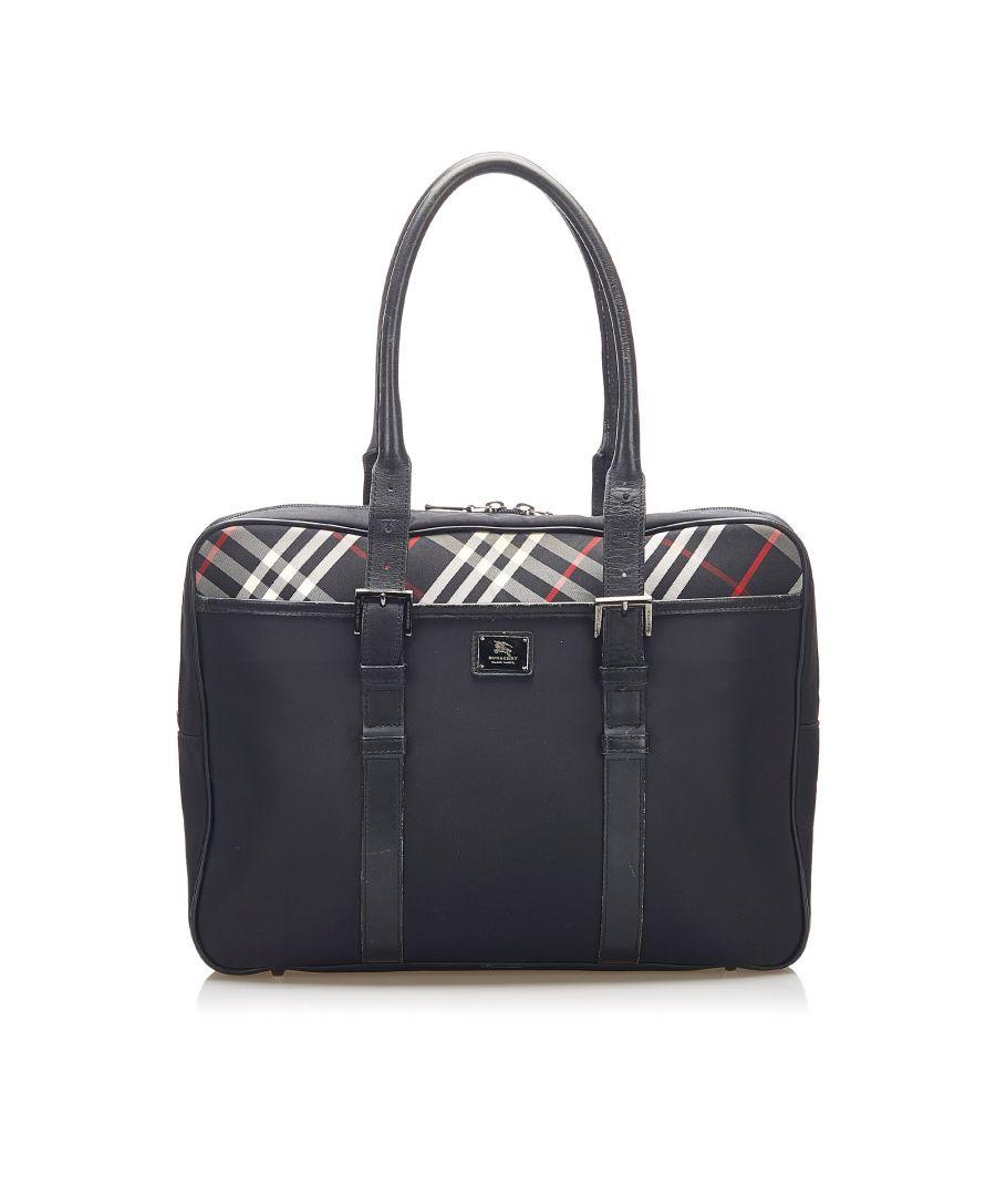 Image for Vintage Burberry Nova Check Nylon Business Bag Black
