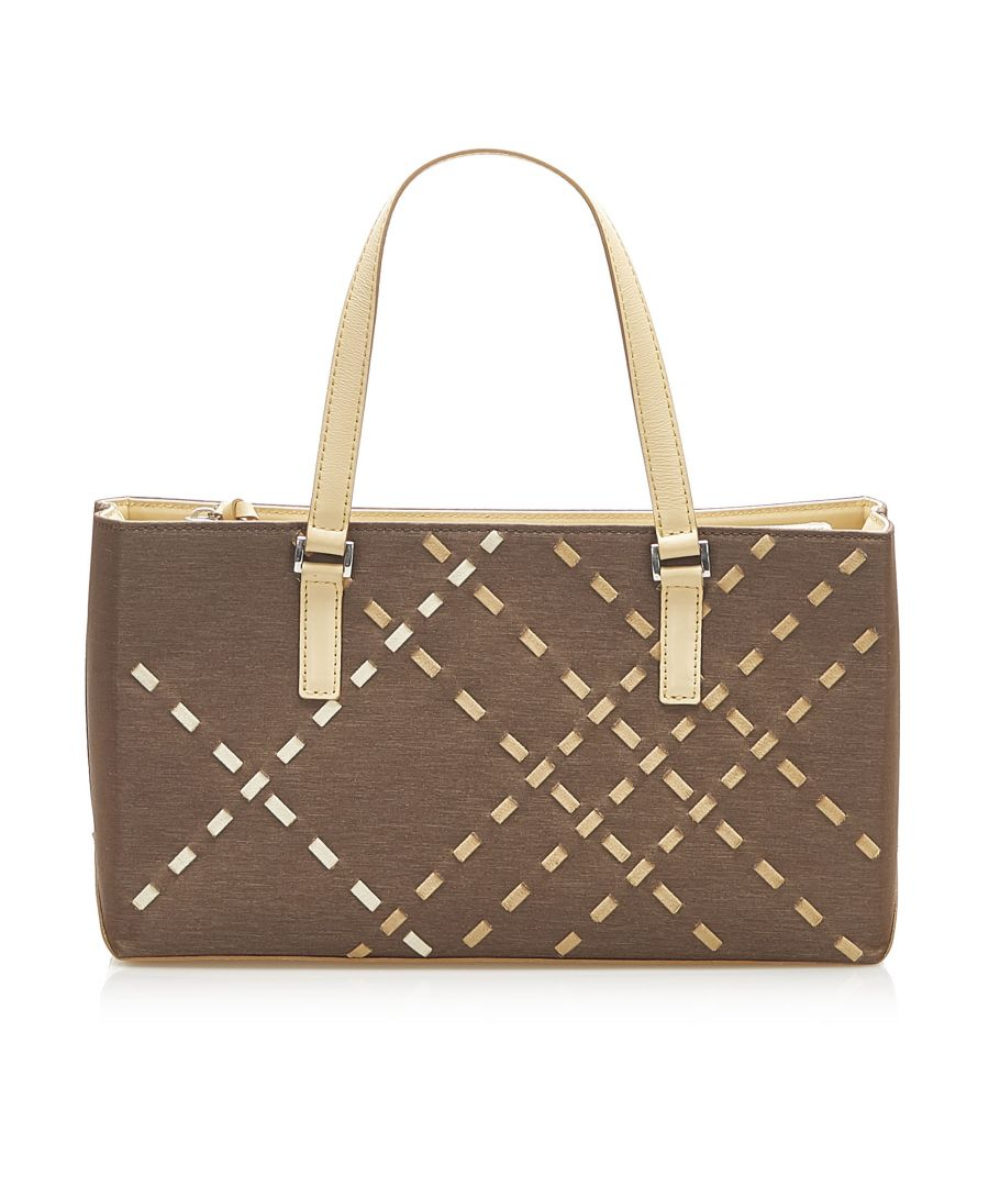 Image for Vintage Burberry Canvas Handbag Brown