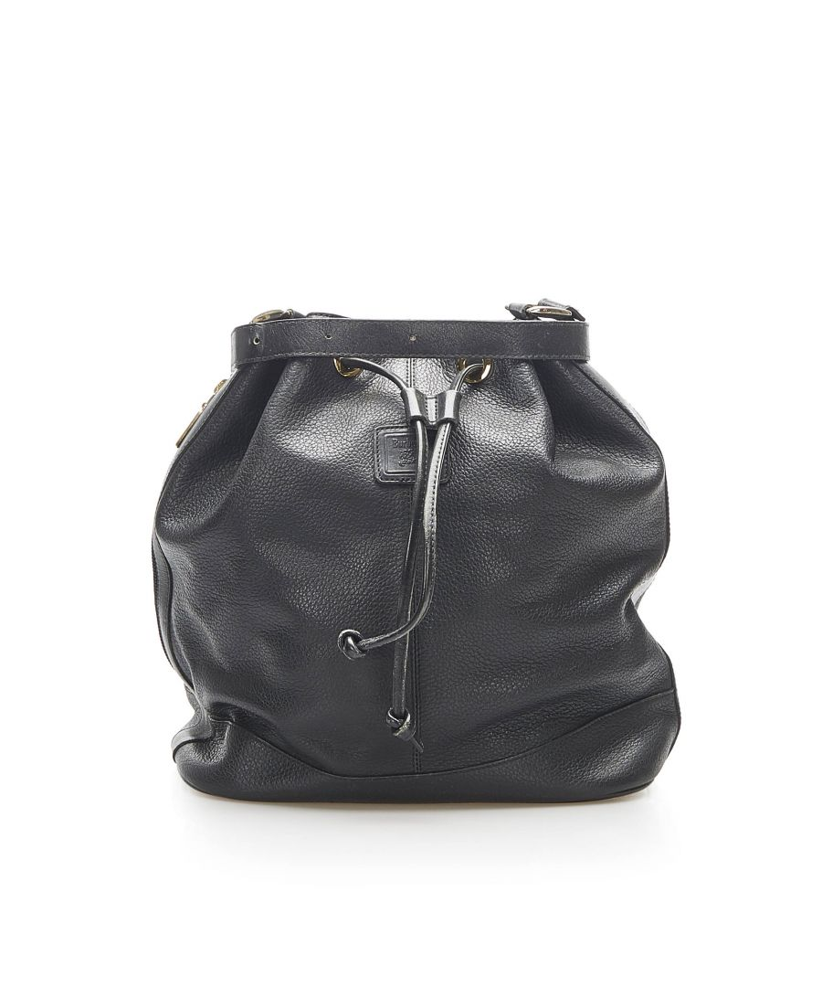 Image for Vintage Burberry Leather Bucket Bag Black