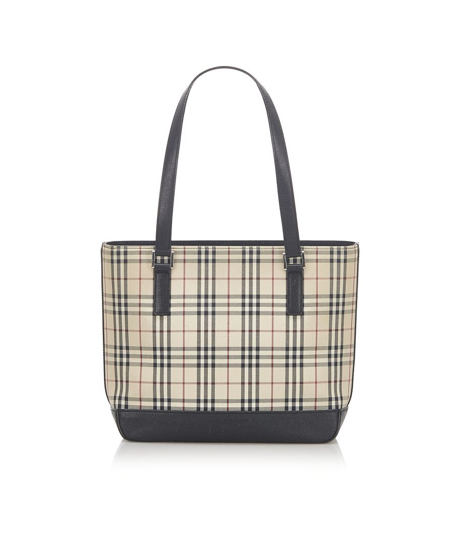 Image for Vintage Burberry House Check Canvas Tote Bag Brown