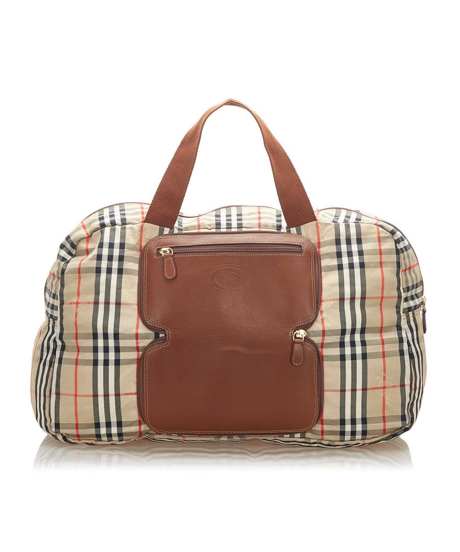 Image for Vintage Burberry House Check Canvas Travel Bag Brown