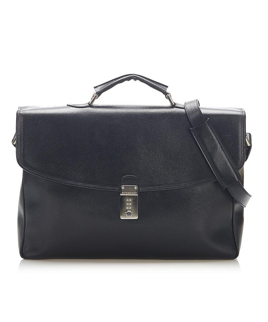 Image for Vintage Burberry Leather Business Bag Black