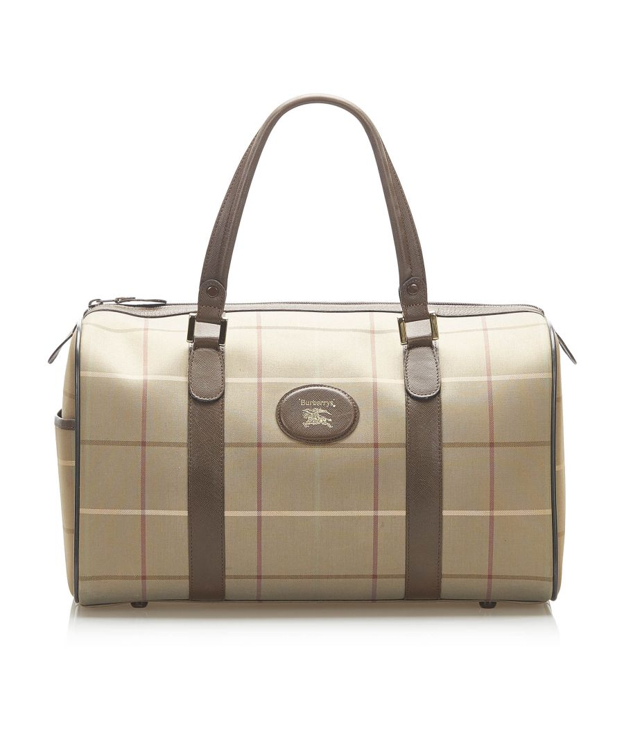 Image for Vintage Burberry Plaid Canvas Duffle Bag Brown