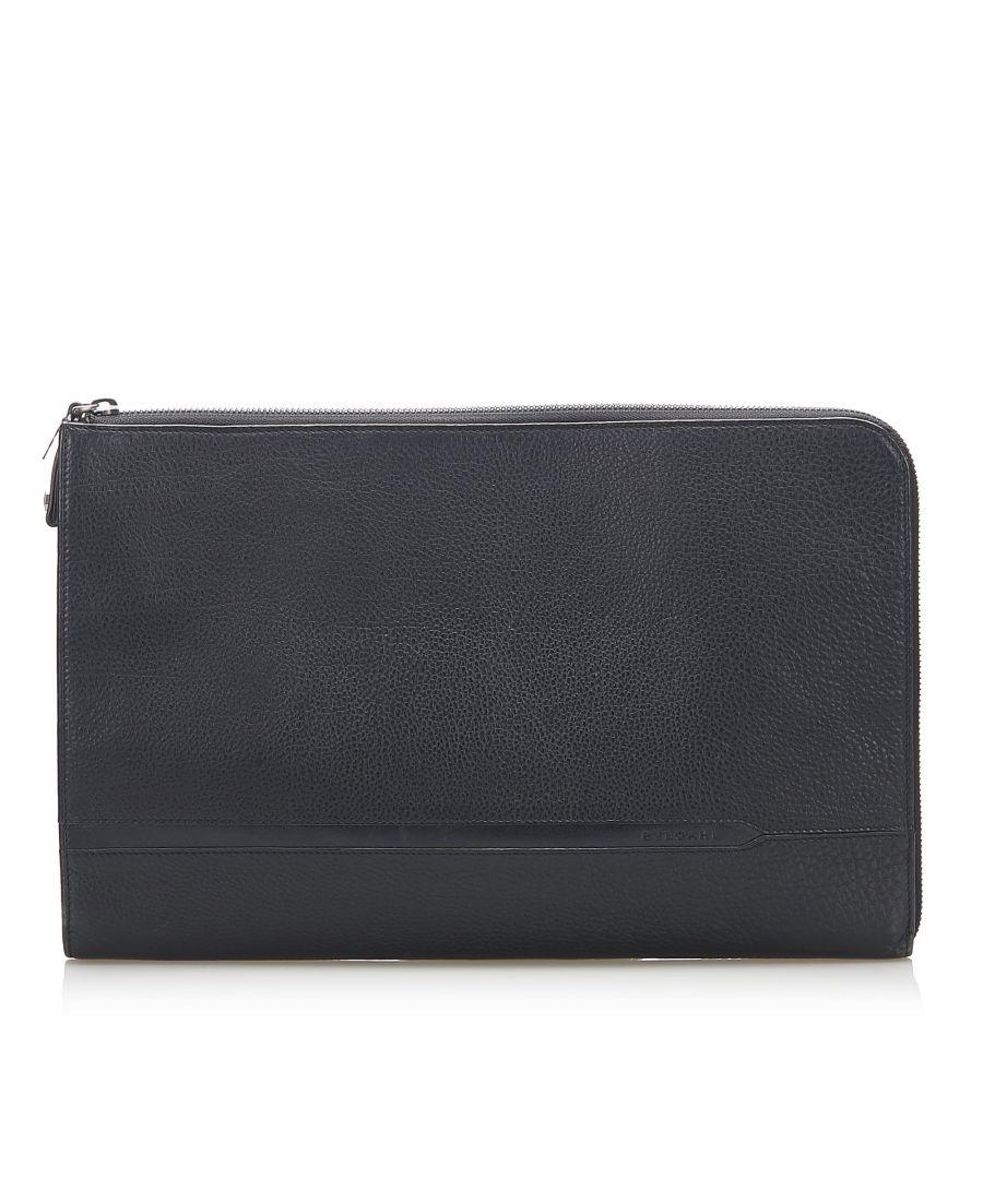 Image for Vintage Bvlgari Leather Business Bag Black