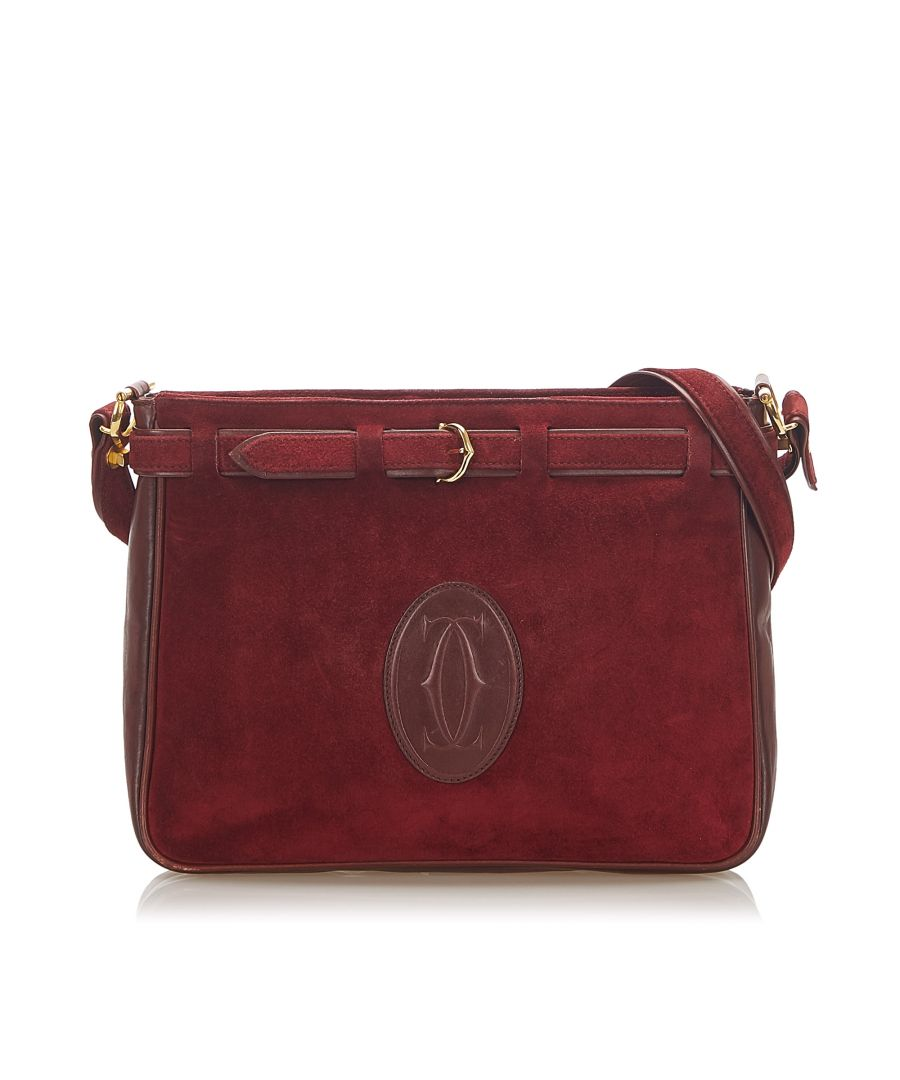Image for Vintage Cartier Must de Cartier Suede Leather Crossbody Red