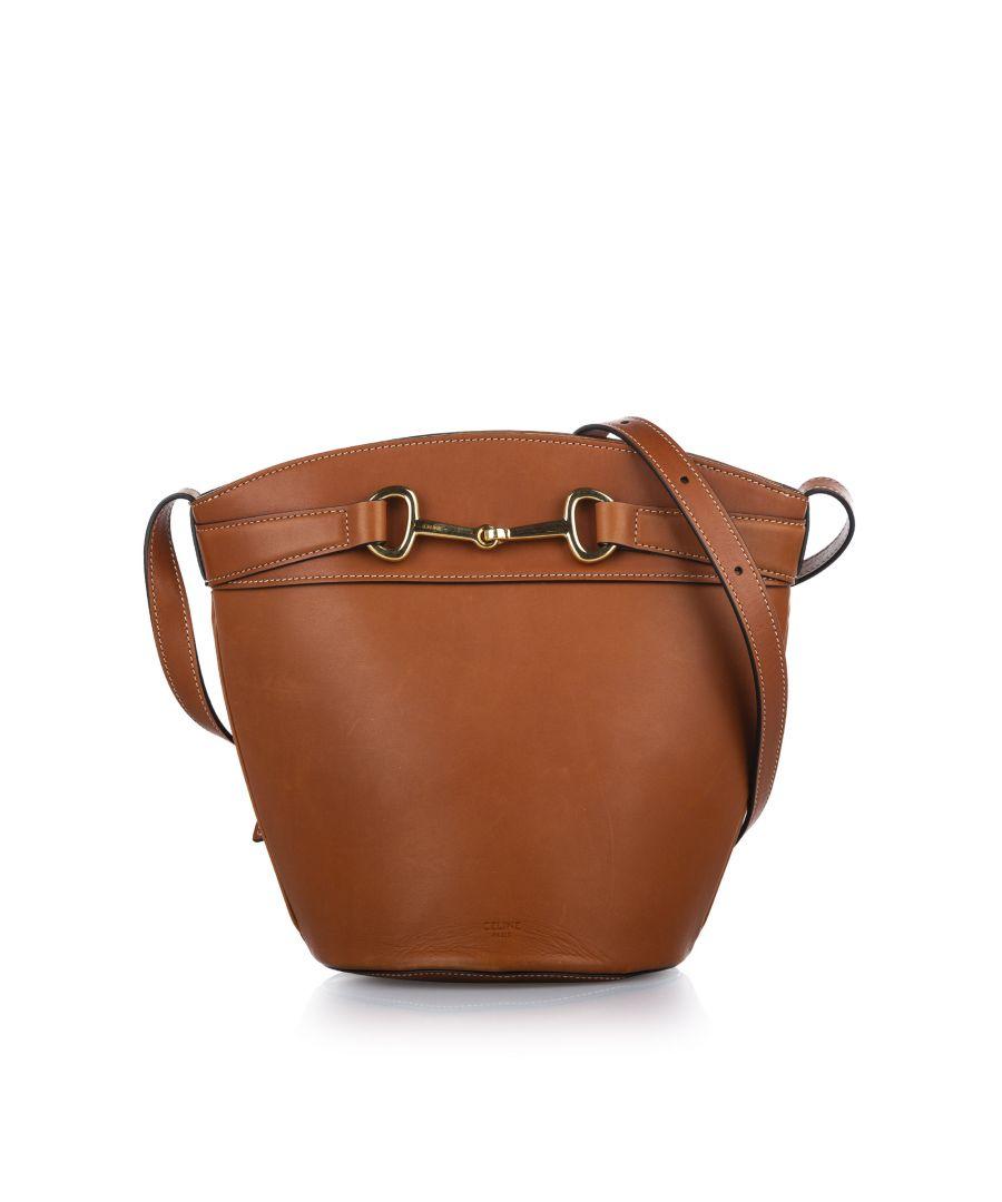 Image for Vintage Celine Leather Bucket Bag Brown
