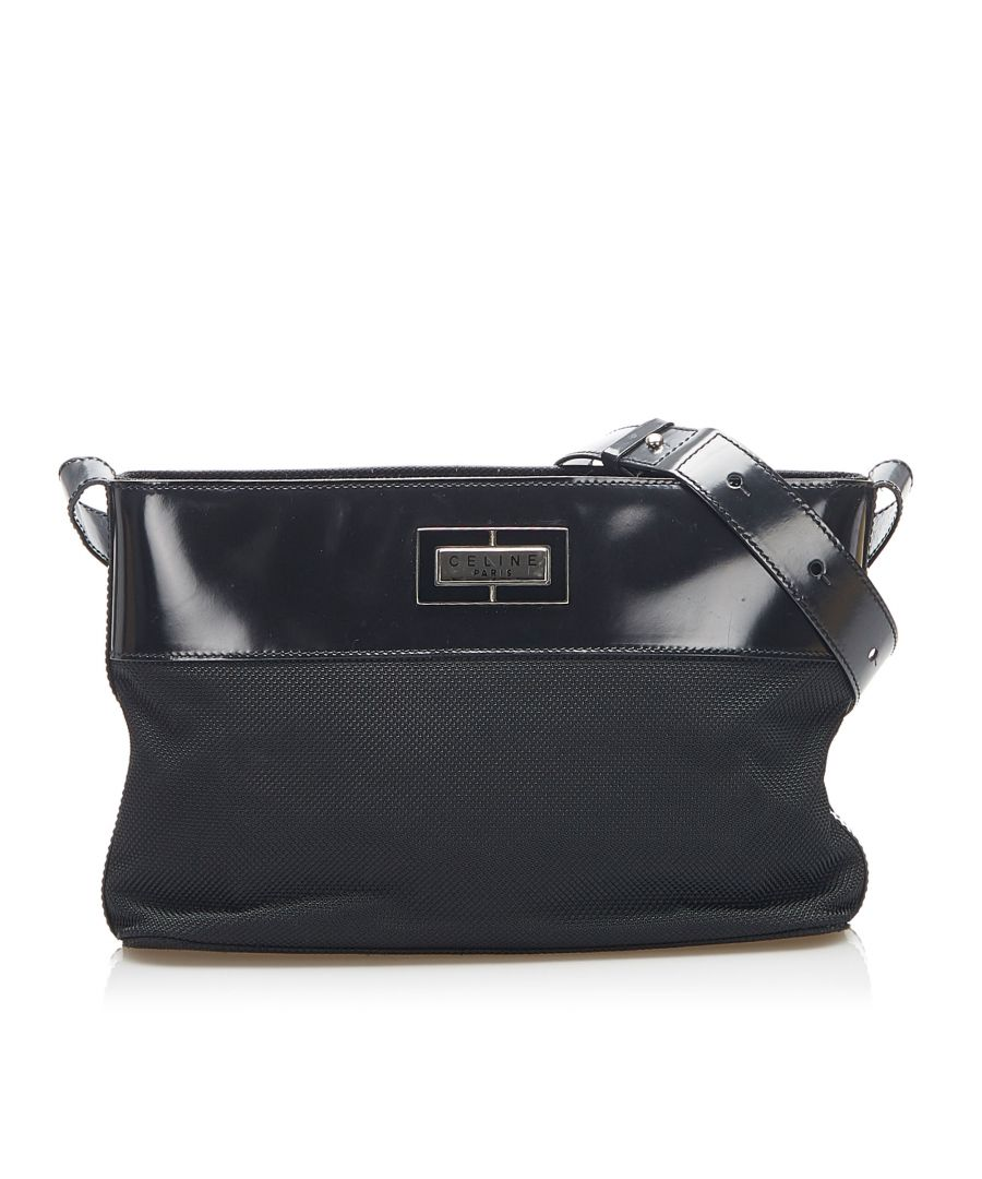 Image for Vintage Celine Canvas Shoulder Bag Black