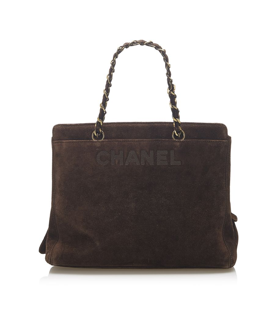 Image for Vintage Chanel Suede Tote Bag Brown