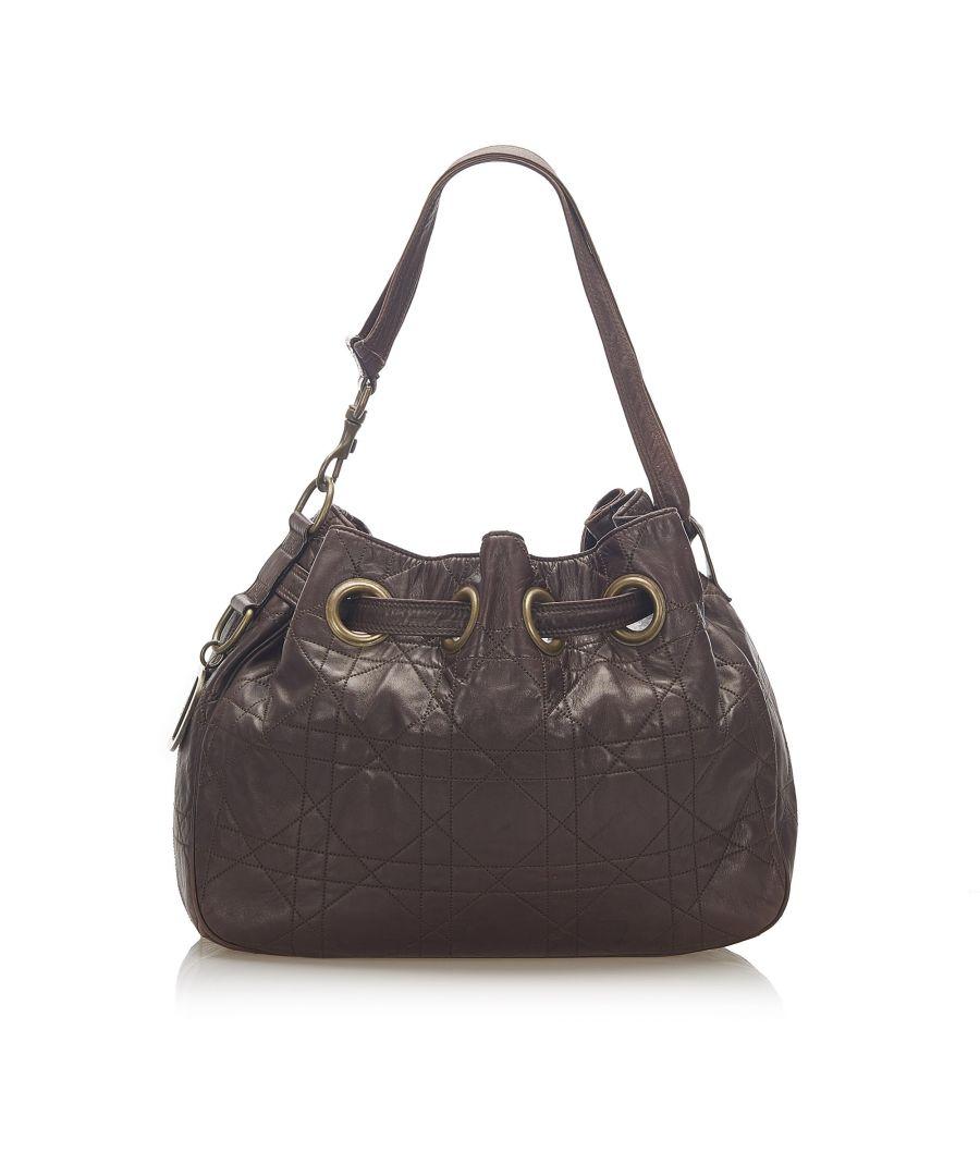Image for Vintage Dior Cannage Leather Shoulder Bag Brown
