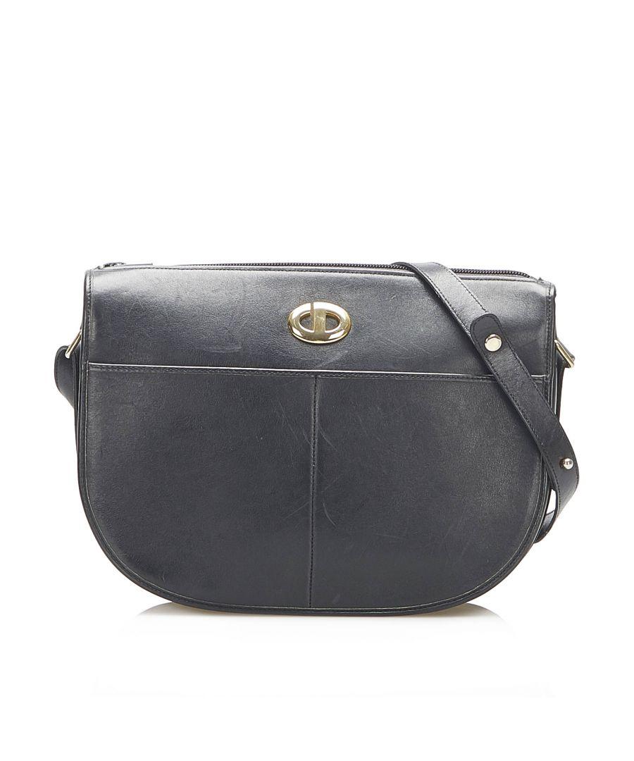 Image for Vintage Dior Leather Shoulder Bag Black