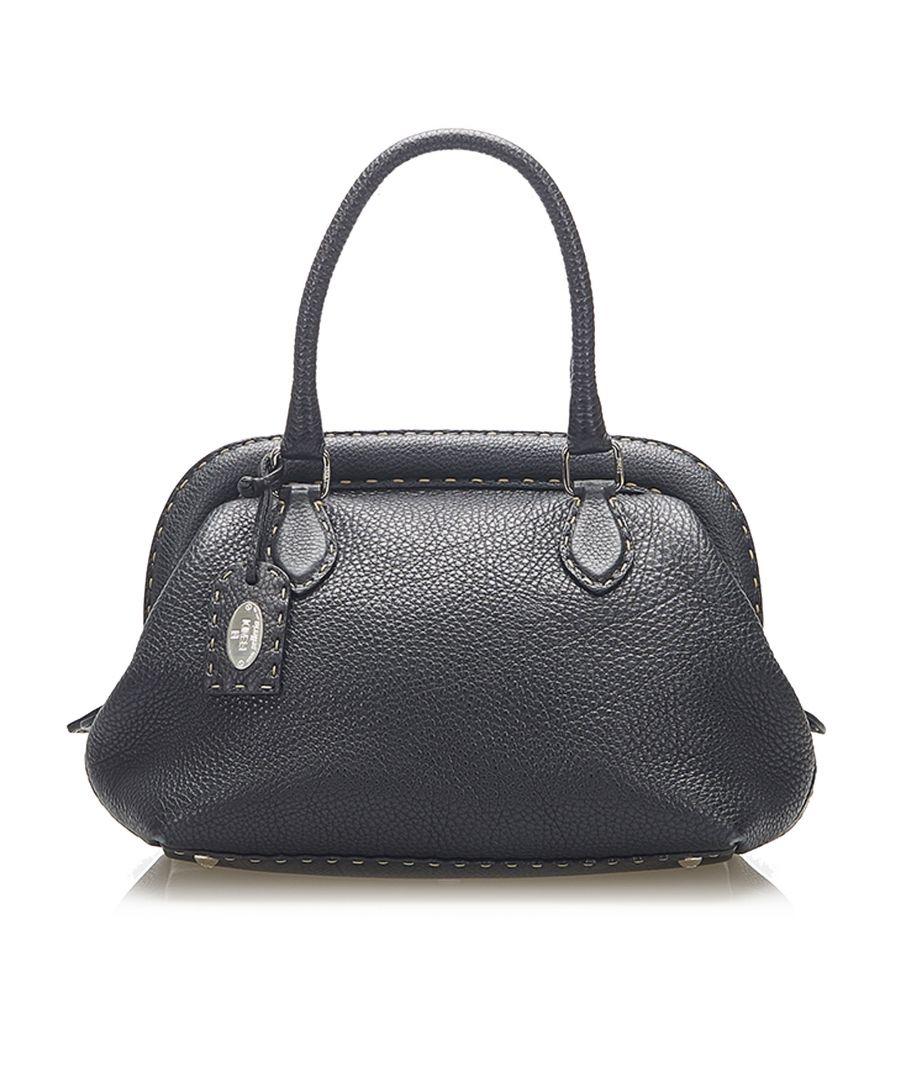 Image for Vintage Fendi Selleria Leather Handbag Black