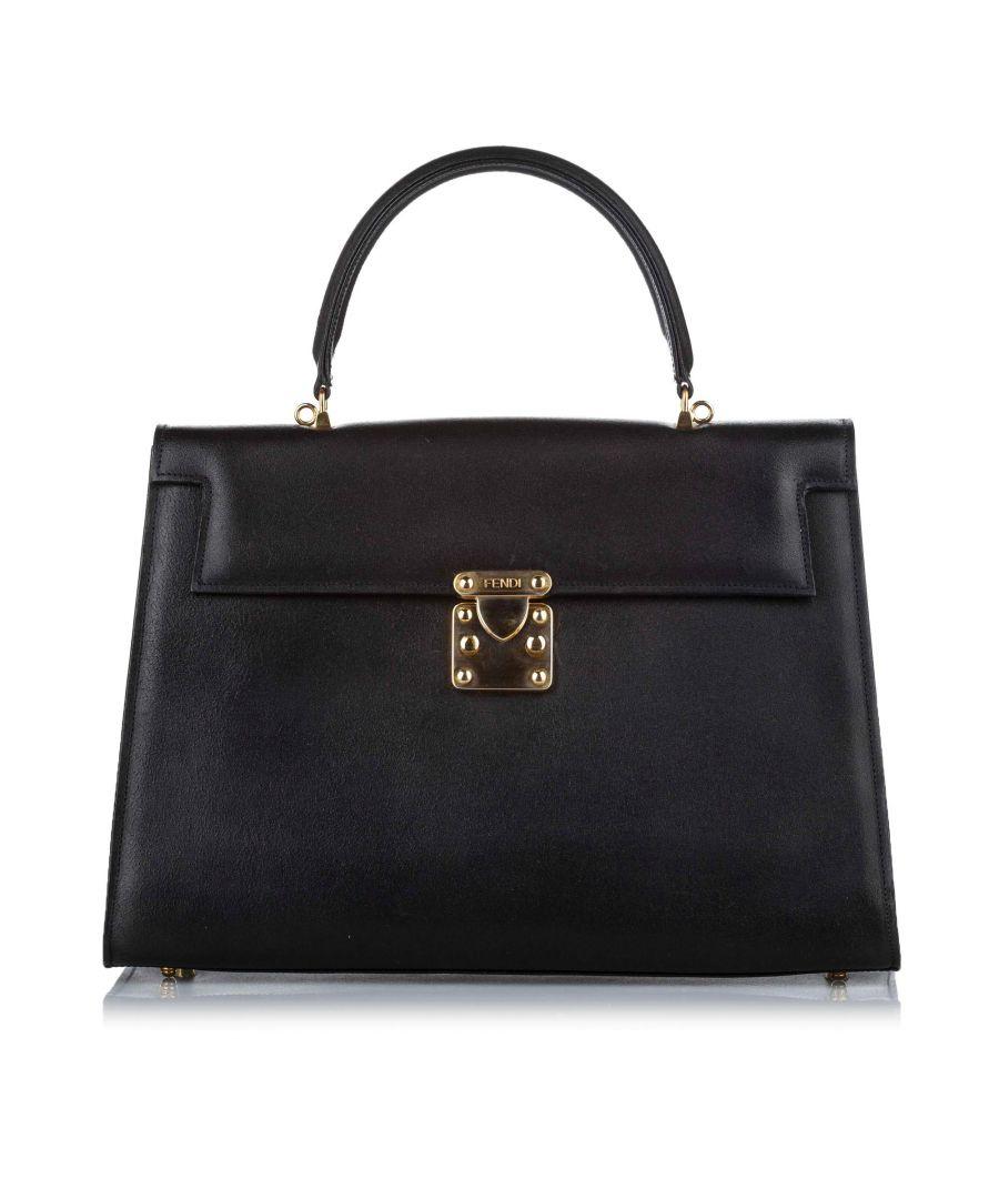 Image for Vintage Fendi Leather Business Bag Black