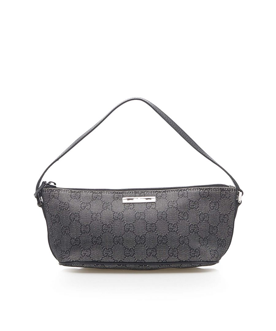 Image for Vintage Gucci GG Canvas Boat Baguette Gray