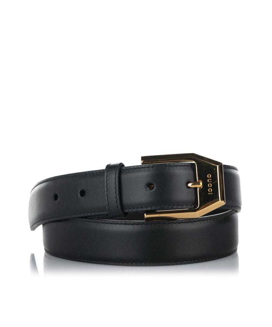 Image for Vintage Gucci Leather Belt Black