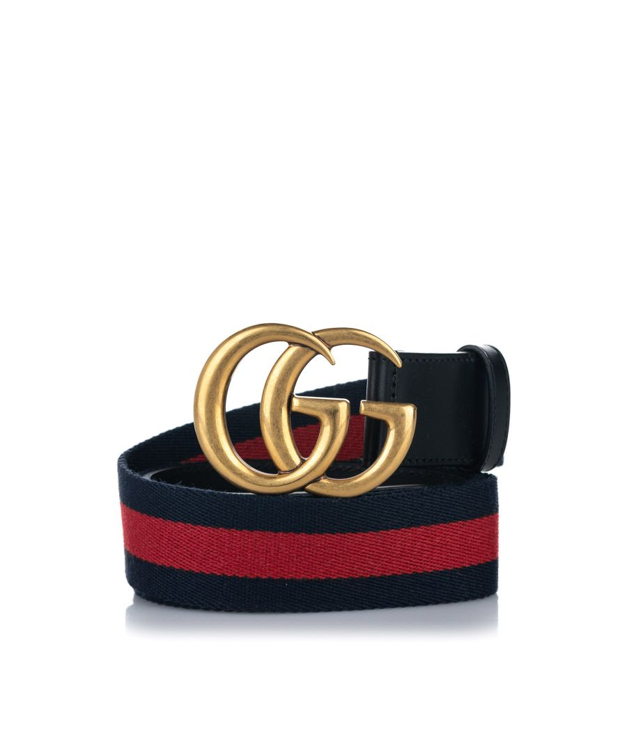 Image for Vintage Gucci GG Web Leather Belt Brown