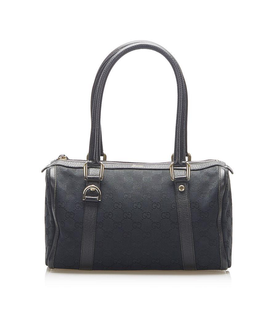 Image for Vintage Gucci Abbey GG Canvas Boston Bag Black