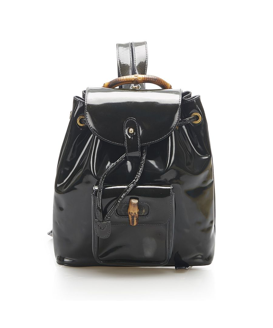 Image for Vintage Gucci Bamboo Patent Leather Drawstring Backpack Black