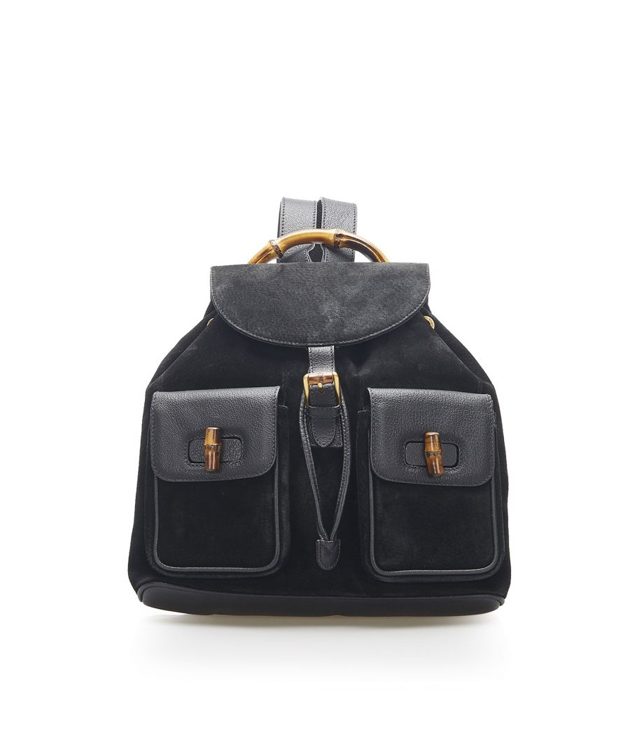 Image for Vintage Gucci Bamboo Suede Drawstring Backpack Black