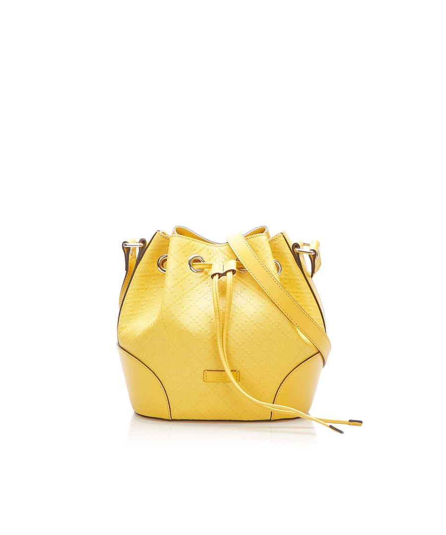 Image for Vintage Gucci Diamante Bright Leather Bucket Bag Yellow