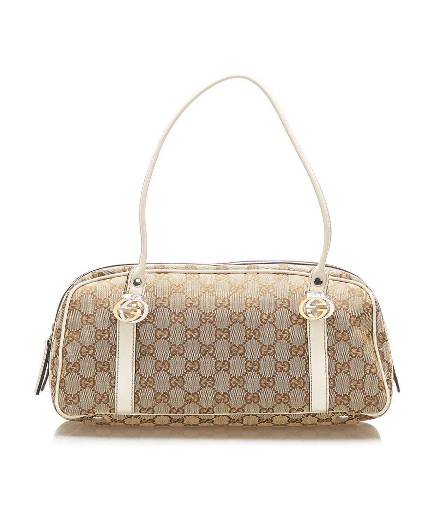 Image for Vintage Gucci GG Canvas Twins Handbag Brown