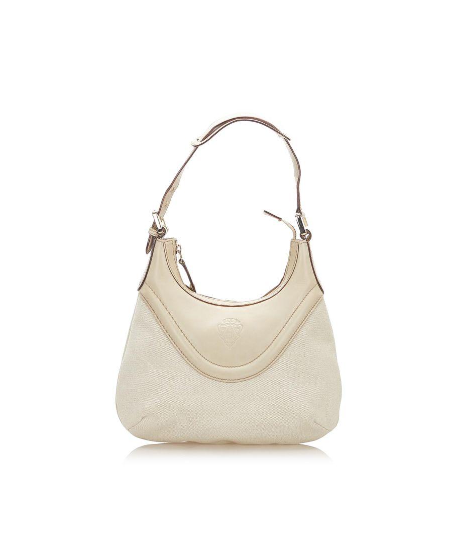 Image for Vintage Gucci Crest Leather Hobo Bag White