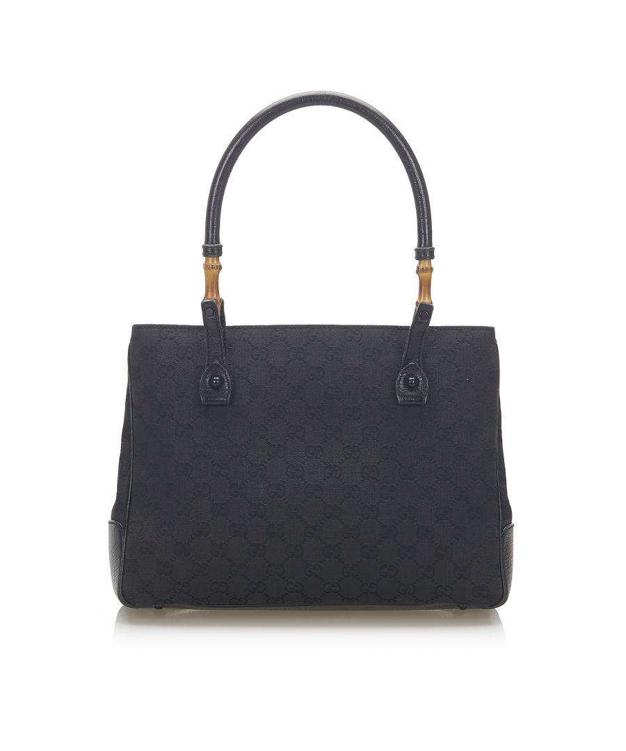 Image for Vintage Gucci Bamboo GG Canvas Handbag Black
