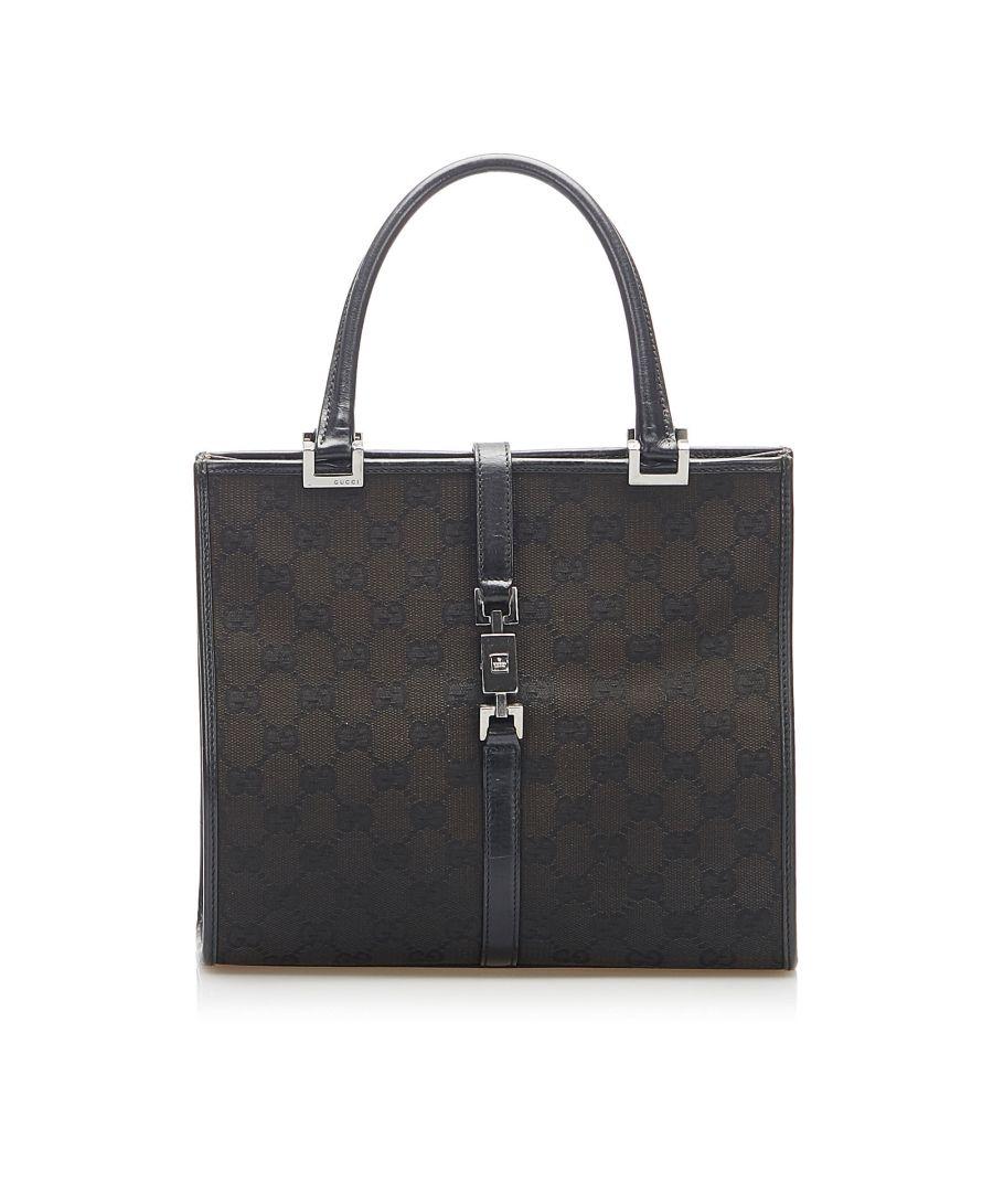 Image for Vintage Gucci GG Canvas Jackie Handbag Black