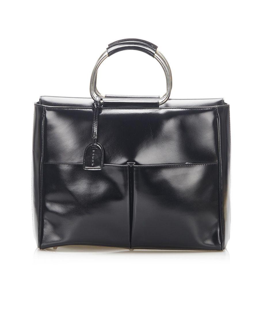 Image for Vintage Gucci Patent Leather Handbag Black