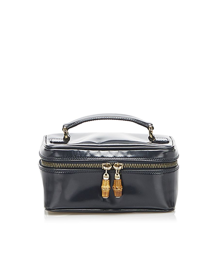 Image for Vintage Gucci Bamboo Patent Leather Vanity Bag Black