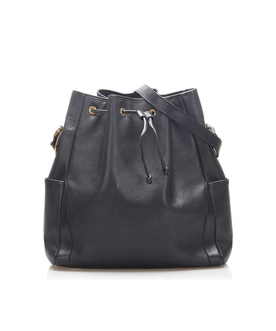 Image for Vintage Gucci Leather Bucket Bag Black