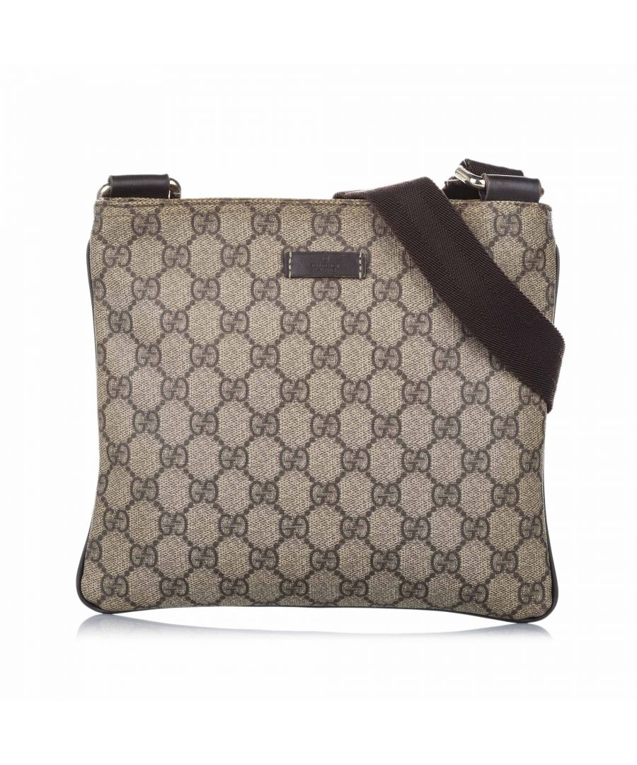 Image for Vintage Gucci GG Supreme Crossbody Bag Brown