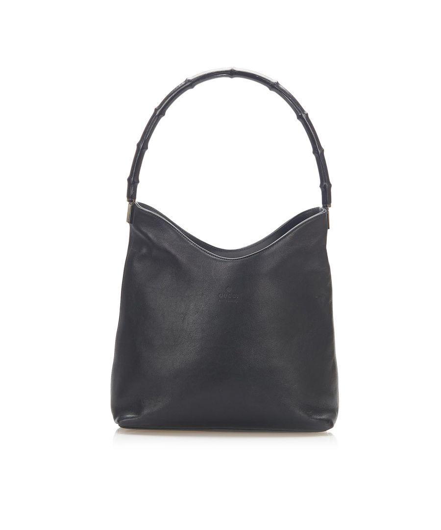 Image for Vintage Gucci Bamboo Leather Shoulder Bag Black
