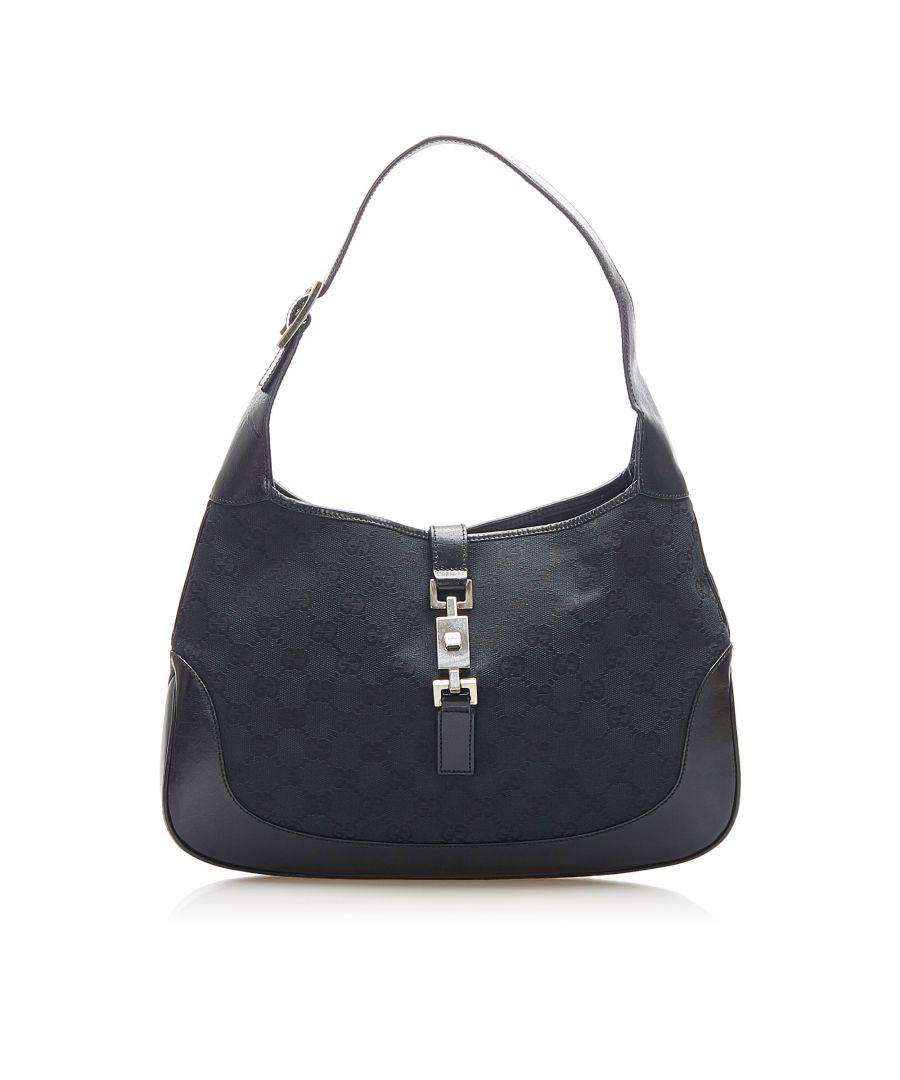 Image for Vintage Gucci GG Canvas Jackie Shoulder Bag Black