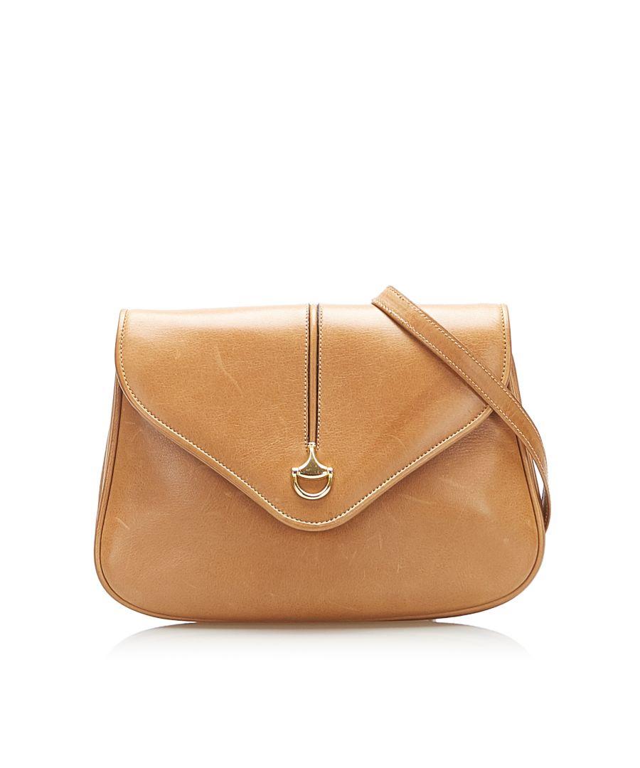 Image for Vintage Gucci Leather Shoulder Bag Brown