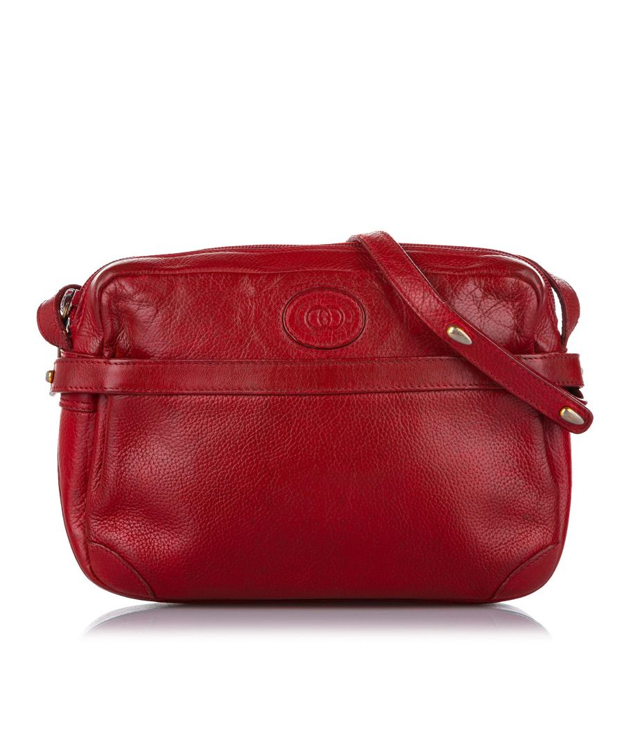 Image for Vintage Gucci Interlocking G Leather Crossbody Bag Red