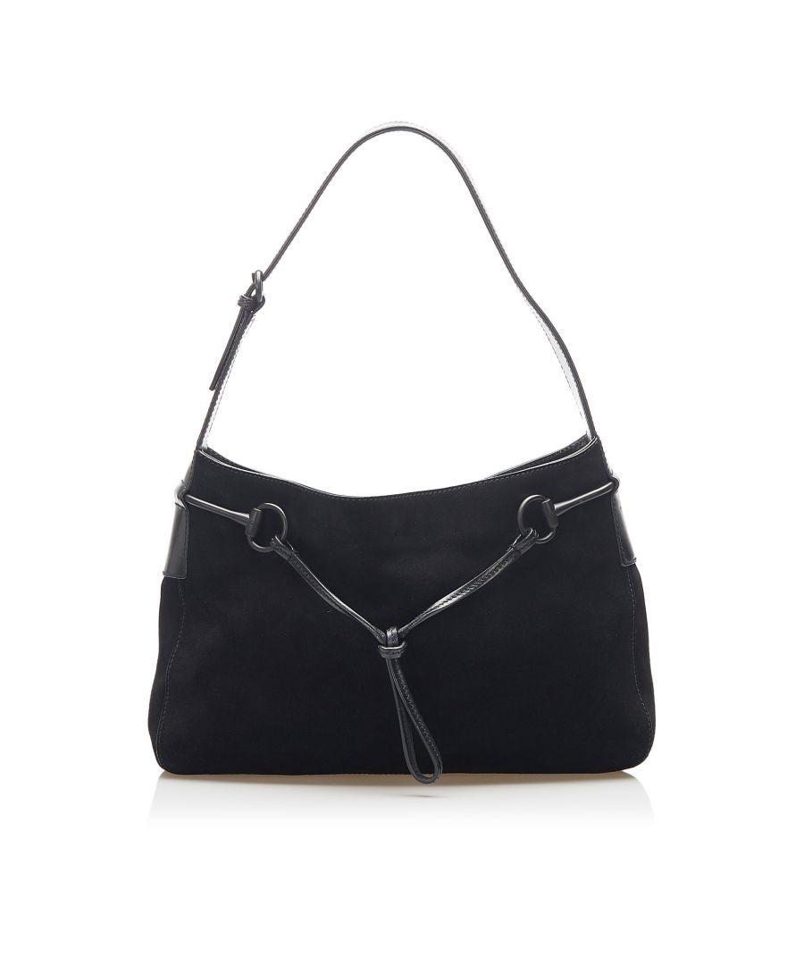 Image for Vintage Gucci Suede Horsebit Shoulder Bag Black