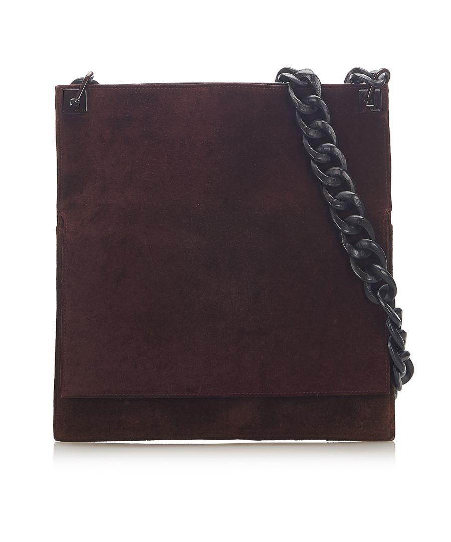Image for Vintage Gucci Suede Leather Shoulder Bag Red
