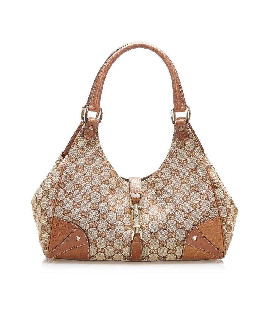 Image for Vintage Gucci GG Canvas Nailhead Jackie Shoulder Bag Brown