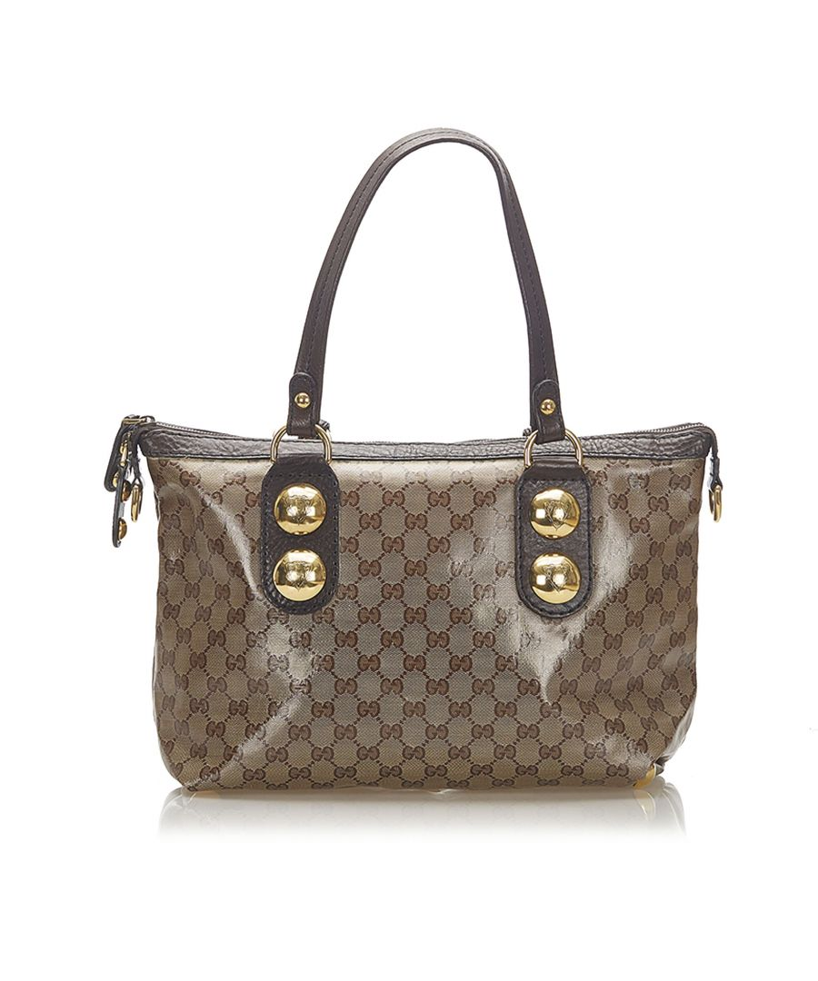 Image for Vintage Gucci Babouska GG Crystal Tote Bag Brown