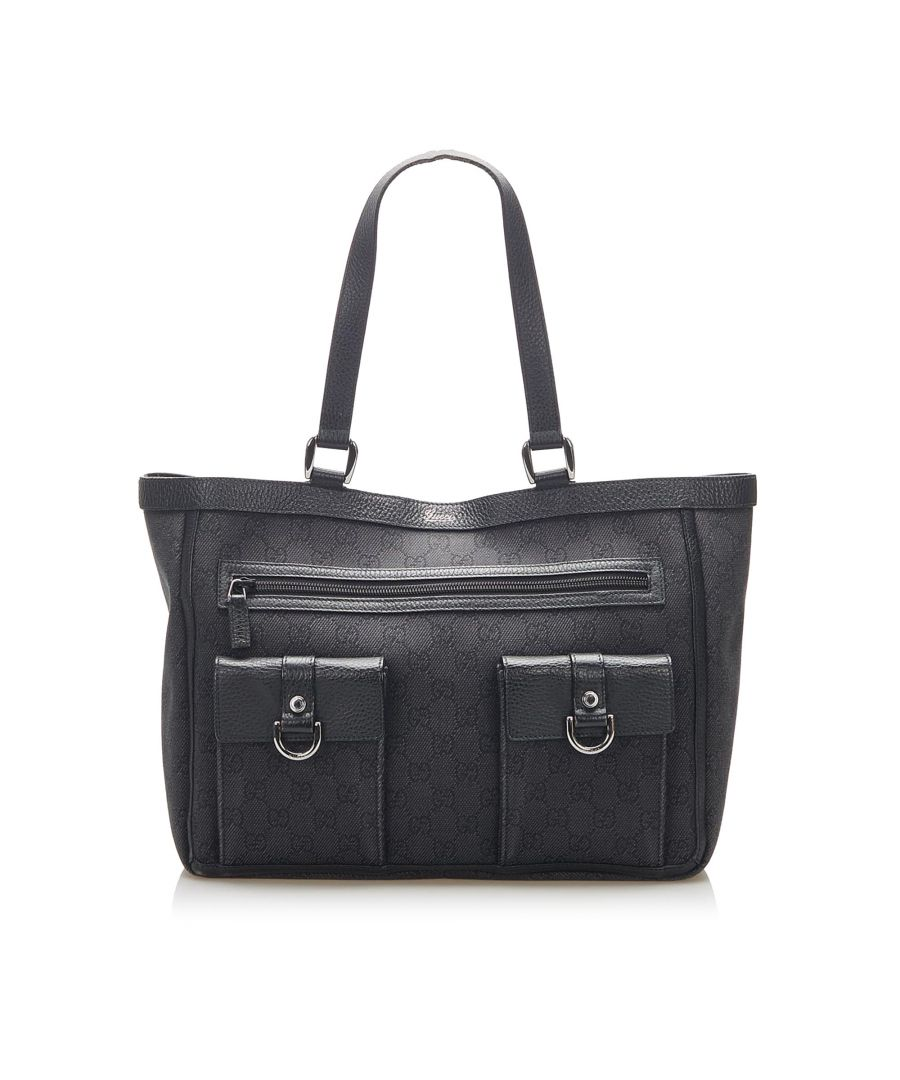 Image for Vintage Gucci GG Canvas Abbey D Ring Tote Bag Black