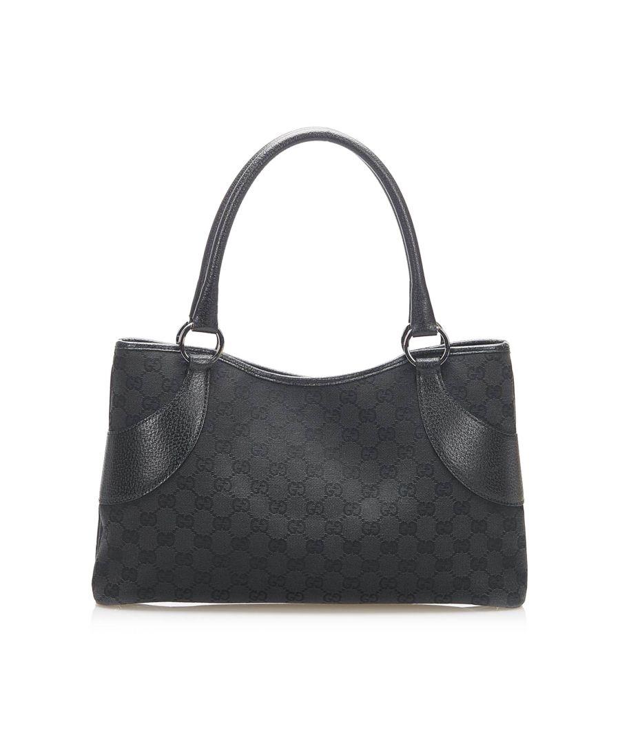 Image for Vintage Gucci GG Canvas Tote Bag Black