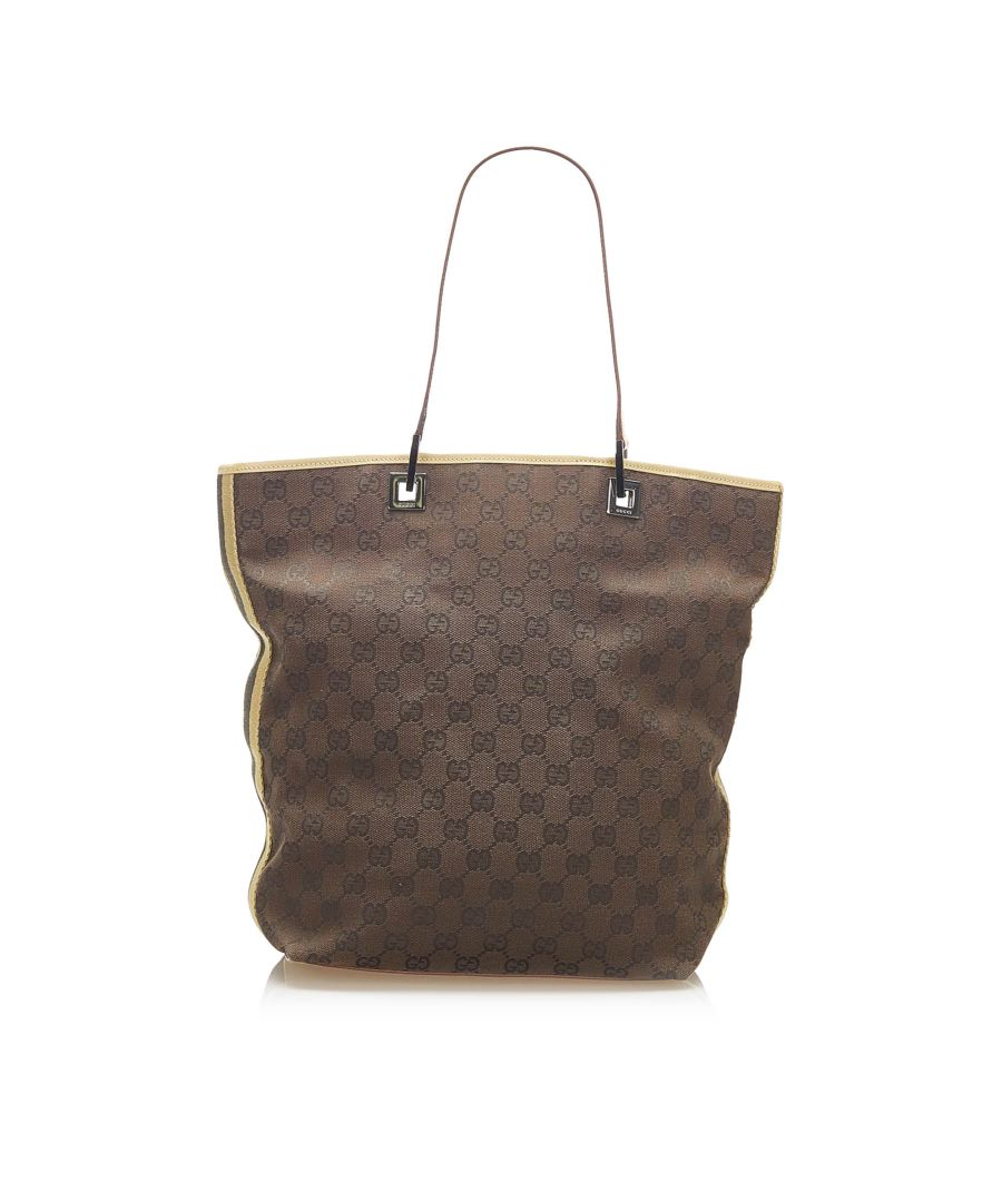 Image for Vintage Gucci GG Canvas Web Tote Bag Brown