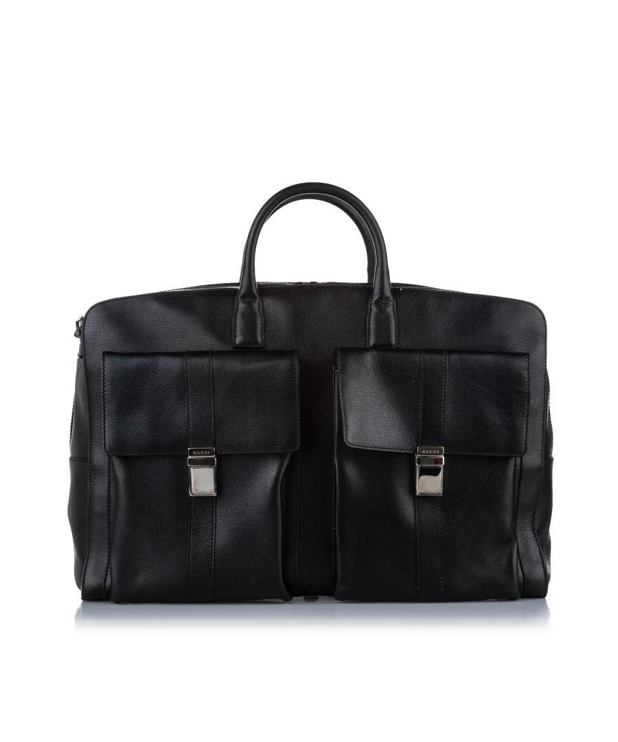 Image for Vintage Gucci Leather Travel Bag Black
