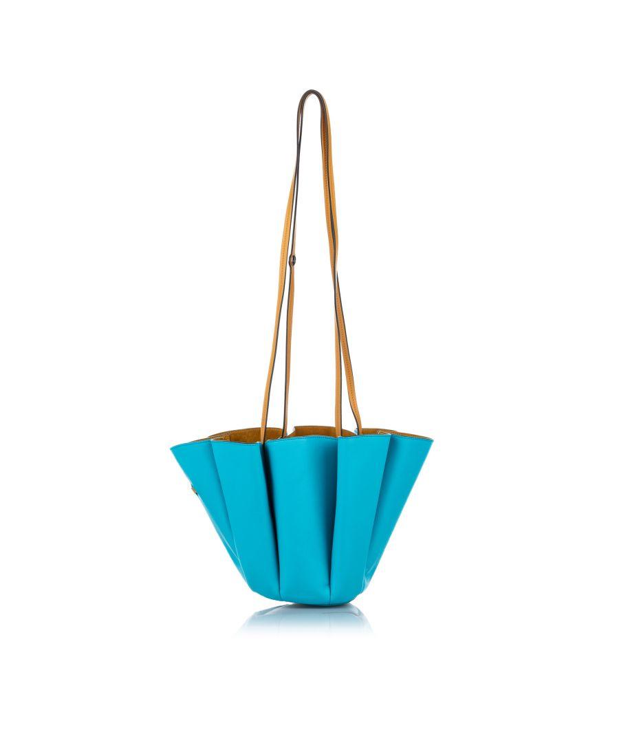 Image for Vintage Lanvin Margeurite Bicolor Leather Bucket Bag Blue